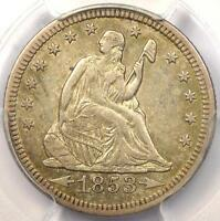 1853 ARROWS & RAYS SEATED LIBERTY QUARTER 25C   PCGS XF45 EF45    DATE