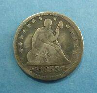1853 P SEATED LIBERTY SILVER QUARTER   ARROWS & RAYS TYPE VG TO FINE DEPTH