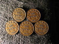 SET AN71 COIN LOT CANADA 1 CENT GEORGE V 5 COINS 1929X2 1920 1932 1933