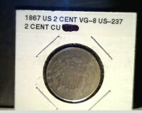 1867 US SILVER 2 CENT PIECE,  CIRCULATED ABOVE AVE GRADE, CU/TIN US-237