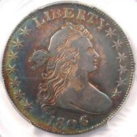 1806 DRAPED BUST HALF DOLLAR 50C COIN PCGS VF - KNOB 6, SMALL STARS - NEAR EXTRA FINE