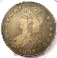 1808/7 CAPPED BUST HALF DOLLAR 50C   PCGS F12 PQ    CERTIFIED OVERDATE COIN
