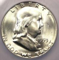1953 S FRANKLIN HALF DOLLAR 50C   CERTIFIED ICG MS66    IN MS66   $292 VALUE