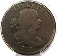 1808/7 DRAPED BUST HALF CENT   PCGS VF DETAILS    EARLY DATE COIN