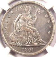 1861 S SEATED LIBERTY HALF DOLLAR 50C   NGC AU DETAILS    CIVIL WAR COIN