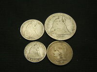 1865 THREE CENT NICKEL 1854 HALF DIME 1891 SEATED DIME 1877 S SEATED QUARTER