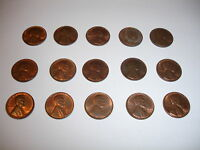 LOT OF 15 CONSECUTIVE PLAIN DATE LINCOLN WHEAT PENNIES 1944 1958