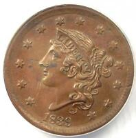 1839 SILLY HEAD MATRON LARGE CENT 1C - ANACS MINT STATE 60 DETAILS -  BU UNC PENNY