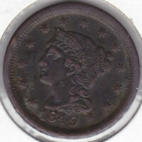1849 BRAIDED HAIR LARGE CENT EF UNCERTIFIED