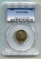 1898 LIBERTY NICKEL PCGS PR66  ORIGINAL COIN BOBS COINS FAST SHIPMENT