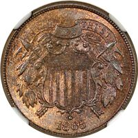 1865 2C TWO CENT PIECE  NGC MINT STATE 65RB CAC