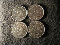 SET AO9  COIN LOT CANADA 5 CENTS LIZ & GEORGE VI 1950 1959 1960 1962
