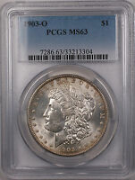 1903-O MORGAN SILVER DOLLAR $1 COIN PCGS MINT STATE 63 LIGHT TONING REAR 12-B