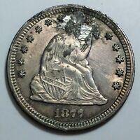 1877 CC SEATED LIBERTY QUARTER  UNC/BU DETAILS  PLUGGED  DATE