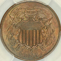 1864 SMALL MOTTO TWO CENT PCGS MINT STATE 64BN