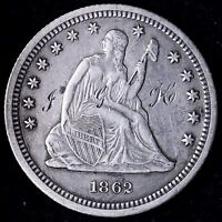 XF DETAILS 1862 SEATED LIBERTY QUARTER R3NT
