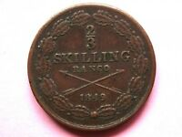 SWEDEN  2/3 SKILLING 1849 COPPER COIN