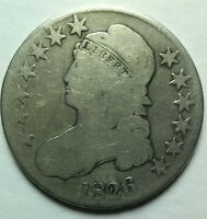 1826 CAPPED BUST HALF DOLLAR CIRCULATED SILVER COIN NEARLY FULL LIBERTY