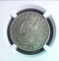 1872 CC SEATED LIBERTY SILVER HALF DOLLAR   NGC VF DETAILS   IMPROPERLY CLEANED