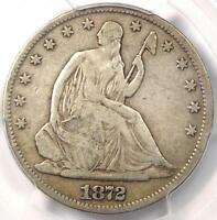 1872 CC SEATED LIBERTY HALF DOLLAR 50C   CERTIFIED PCGS F12   CARSON CITY COIN