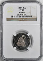 1847 LIBERTY SEATED 25C NGC PR 66