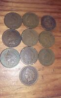 INDIAN HEAD LOT 10 COINS 1800S INCLUDED OLD AUTHENTIC US CURRENCY