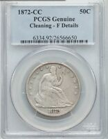 1872 CC SEATED LIBERTY HALF DOLLAR 50C   PCGS FINE DETAILS   LOW MINTAGE