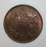 1865 2 CENT MINT STATE 66 RB TWO CENT PIECE  IN THIS GRADE