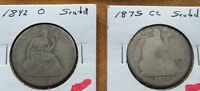 1875 CC AND 1842 O SEATED HALF DOLLARS GREAT VALUE SILVER COINS SEMI KEYS