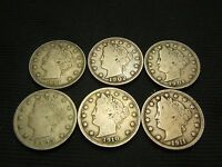 1883 NC,1902, 1904,1905,1910, 1911 LIBERTY V NICKELS NEARLY FULL TO FULL LIBERTY