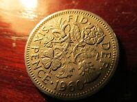 BRITISH UK PRE DECIMAL COIN SIXPENCE 1960 LOT 1