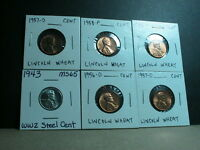 SIX 6 LINCOLN WHEAT CENTS 1956 D 1957 DX2 1958 D 1958 P 1943 P STEEL