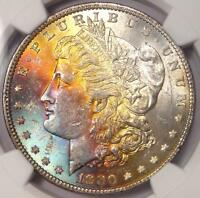 1880 TONED MORGAN SILVER DOLLAR $1   NGC MS62   NICE RAINBOW TONING