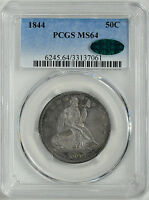 1844 LIBERTY SEATED 50C PCGS MS 64