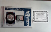 1776 1976 EISENHOWER SILVER DOLLAR ON PORTRAITS OF LIBERTY CARD 1961 STAMP COA