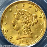 1904 P LIBERTY HEAD $2.50 GOLD QUARTER EAGLE PCGS GRADED MS64 OGH
