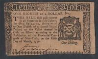 NY 185  PCGS VF35  $1/8 MARCH 5 1776 NEW YORK COLONIAL NOTE FREE PRIORITY