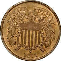 1871 2C TWO CENT PIECE PCGS MINT STATE 64RB