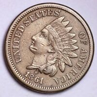 VF XF 1861 INDIAN HEAD CENT PENNY R1NM