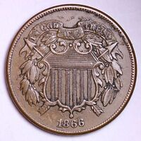 EXTRA FINE  1866 TWO CENT PIECE R3NT
