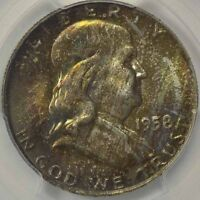 1958 D 50C FRANKLIN HALF DOLLAR PCGS MS66FBL CAC WONDERFUL TONING