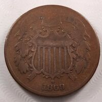 1869 2C TWO CENTS, VF,  FINE