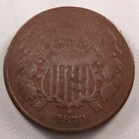 1870 KEY DATE 2C TWO CENTS, F, FINE
