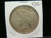1922 $1 PEACE DOLLAR   V.G. CIRCULATED COIN   LARGE WEEKEND  COIN SALE  1755