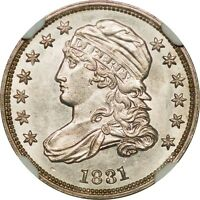 NGC 1831 BUST DIME MS63