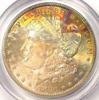 1880 S TONED MORGAN SILVER DOLLAR $1   PCGS MS65 CAC PQ   TEXTILE RAINBOW TONING