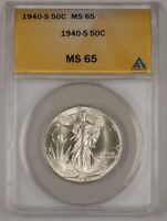 1940-S WALKING LIBERTY SILVER HALF DOLLAR COIN ANACS MINT STATE 65 WELL STRUCK 1