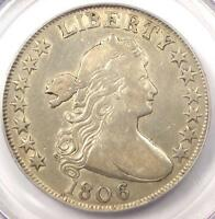 1806 DRAPED BUST HALF DOLLAR 50C - PCGS VF25 - KNOB 6, LG STARS - $1,100 VALUE
