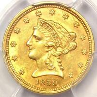 1859 OLD REVERSE LIBERTY GOLD QUARTER EAGLE $2.50   PCGS UNCIRCULATED MS UNC