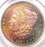 1880 S TONED MORGAN SILVER DOLLAR $1. PCGS MS64   MONSTER TEXTILE RAINBOW TONING